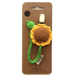 Crocheted Sunflower Pacifier Clip