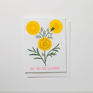 Banquet Workshop - You Are My Sunshine Note Card- Bright Gold Yellow Marigolds