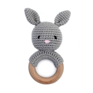 Bunny Teething Rattle - Grey