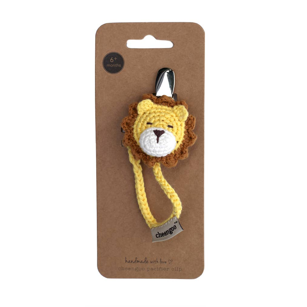 Crocheted Pacifier Clip - Lion