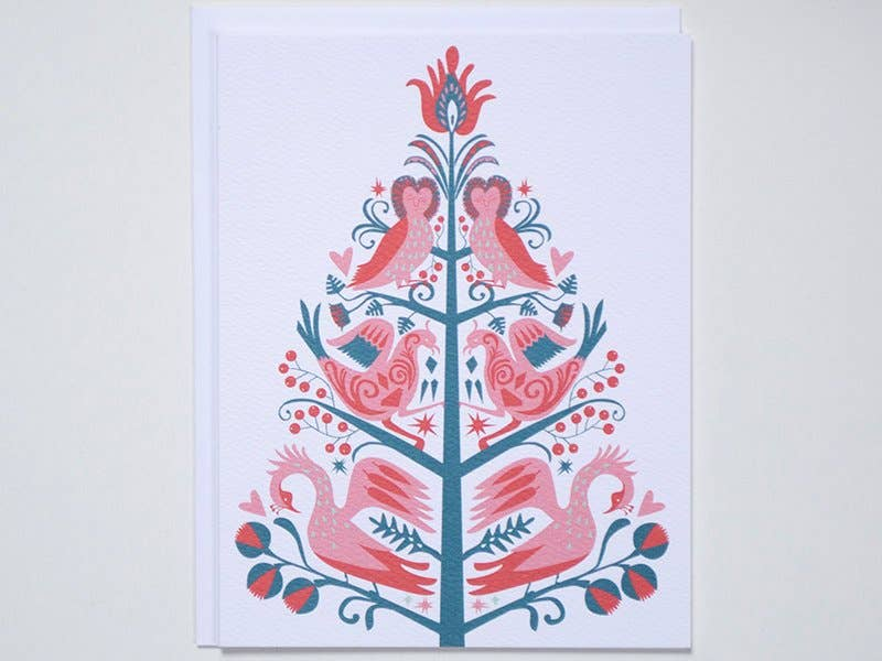 Banquet Workshop - Christmas Holiday Folk Tree Note Card