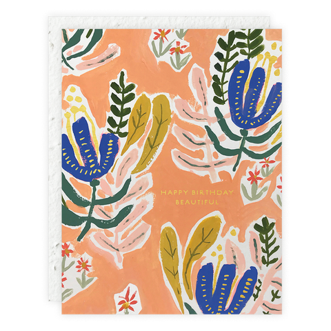 Seedlings - Coral and Blue Card