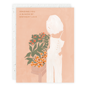 Girl and Flowers Card