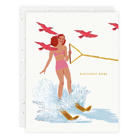 Seedlings - Woman Skiing Card