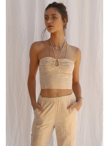 High Desert Palm Leaf Corset Halter