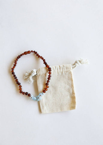 CanyonLeaf - Kids: Raw Cognac Amber + Raw Amazonite || Necklace