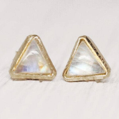 Petit Pyramid Studs Moonstone and Gold