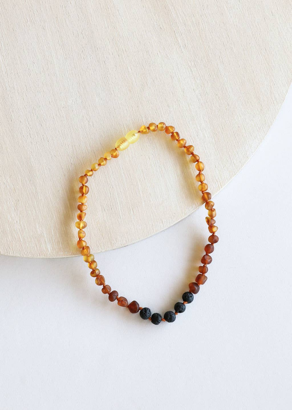 CanyonLeaf - Adult: Raw Ombre Amber + Lava Stone Necklace
