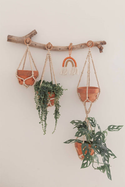 Medium Coffee Wood Beaded Plant Hanger