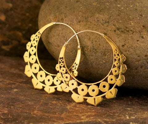 Lotus Geo Earrings - Brass
