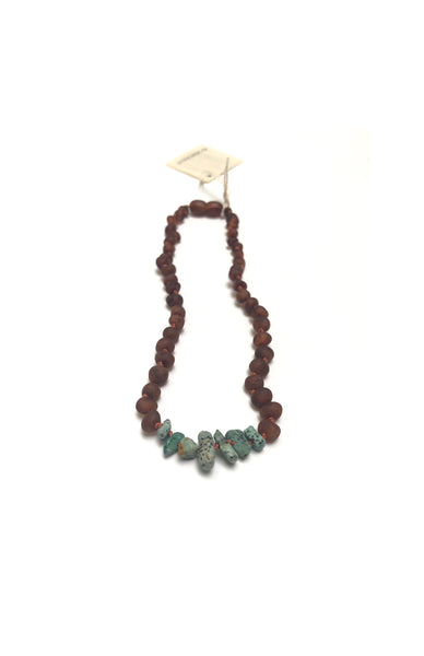 Child's Raw Cognac Amber + Raw Turquoise Jasper Necklace