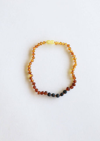 Adult: Raw Ombre Amber + Lava Stone Necklace