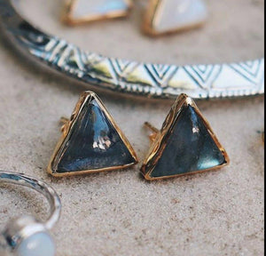 Grand Sacred Geometry Studs Labradorite and Gold