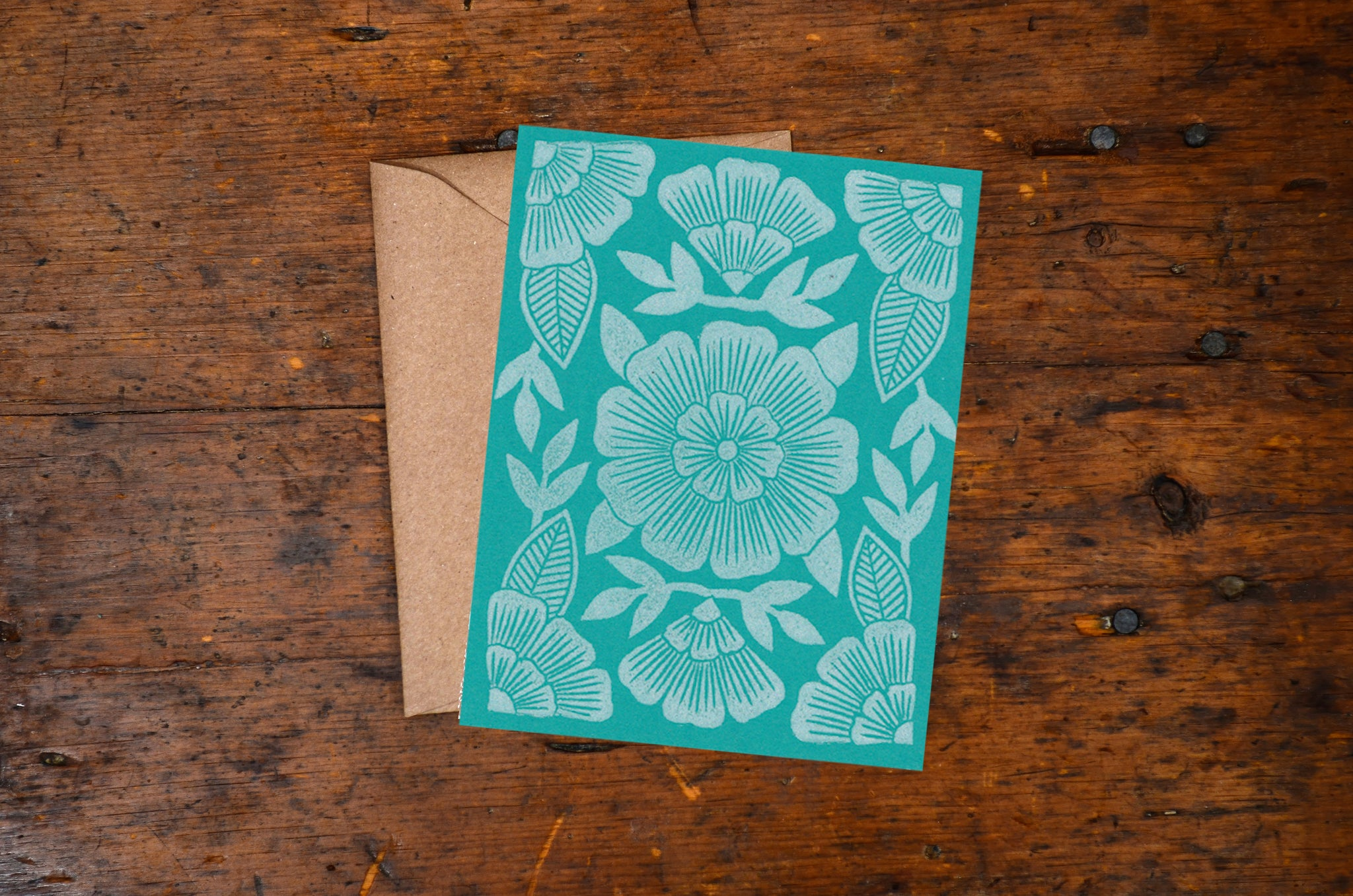 Turquoise Floral Block Printed Blank Card