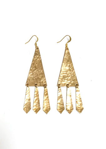 Long triangle fringe earrings