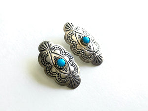 Turquoise Concho Post Earrings