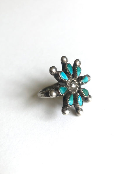 Zuni Needlepoint Turquoise Flower Ring, size 5 3/4