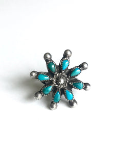 Zuni Needlepoint Turquoise Flower Ring