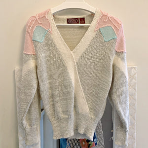 Grey and pink v-neck sweater