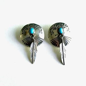 Turquoise Concho Feather Earrings