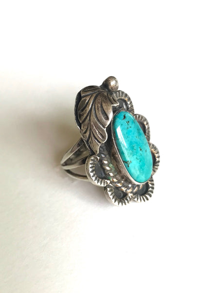Turquoise Leaf Ring, size 5