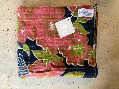 Navy and Orange floral Swaddle Blanket Kantha Bae