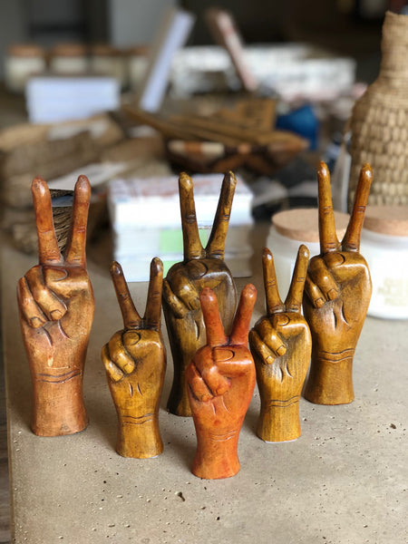 Wooden peace sign hand 8.5""