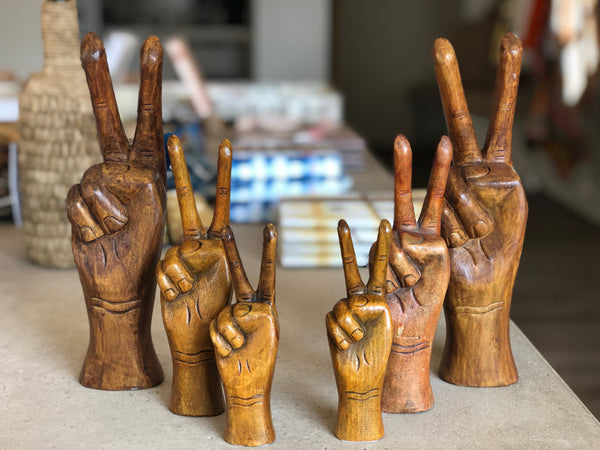 Wooden peace sign hand 10.5""