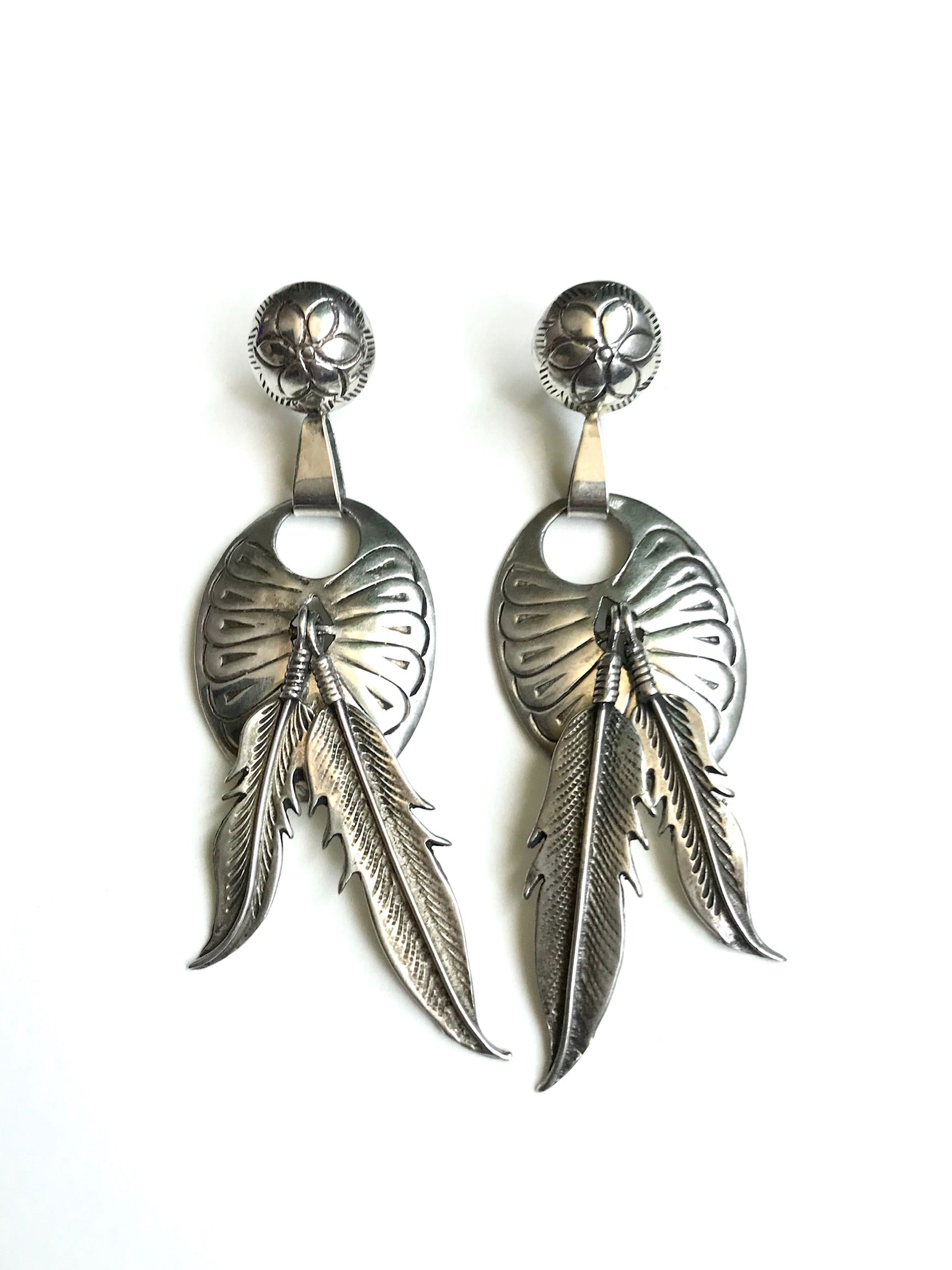 Large Sterling Silver Concho Feather Earrings