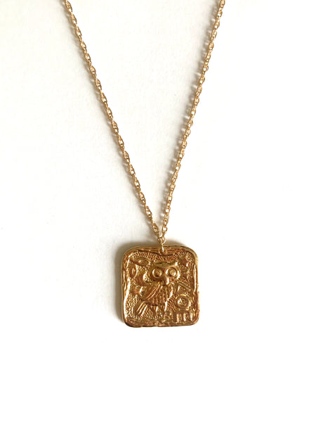 Greek coin owl necklace