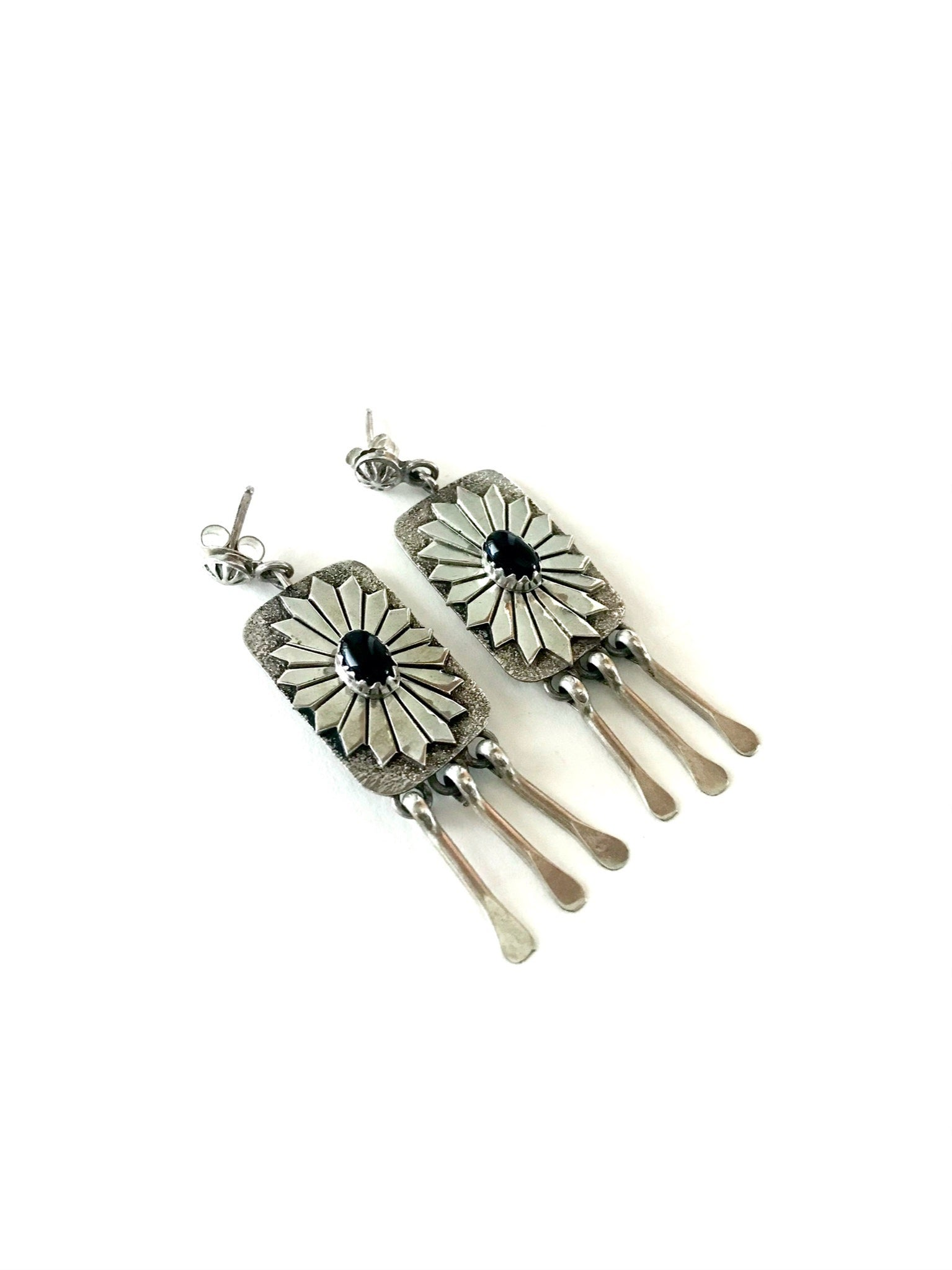 Onyx concho fringe earrings