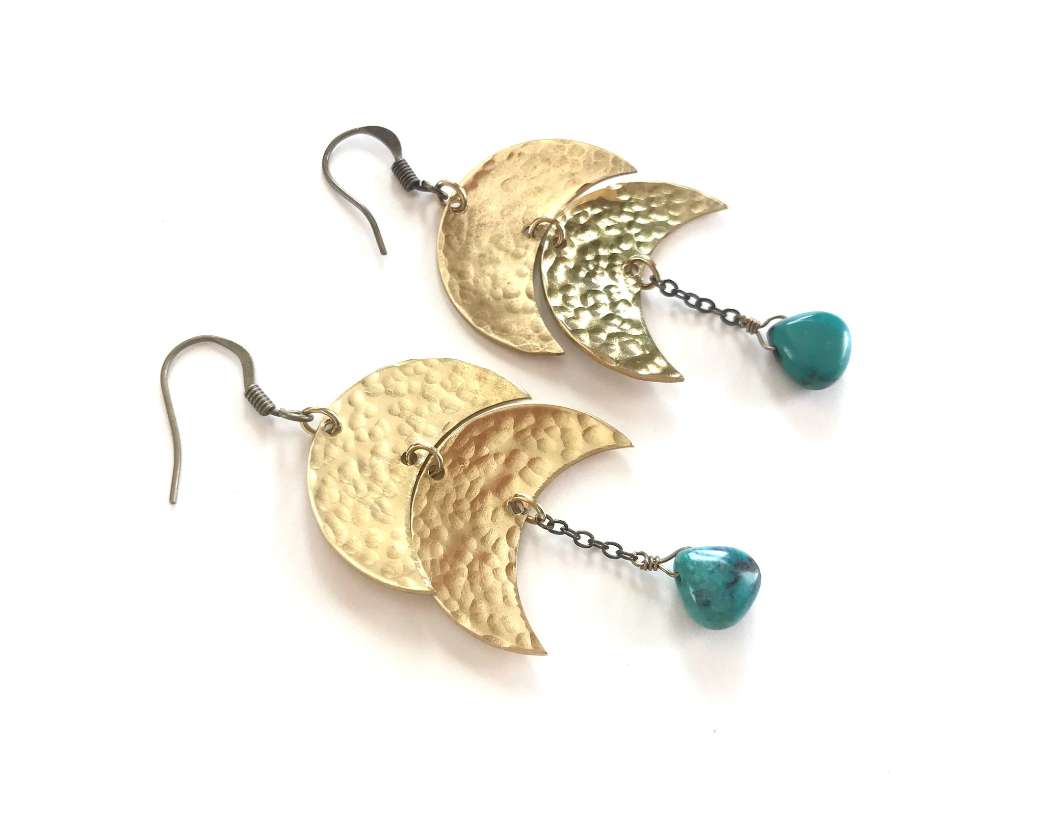 Double crescent moon earrings with turquoise