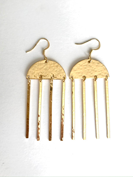 Half moon fringe earrings