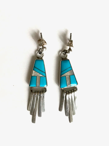 Turquoise and Mother of Pearl Inlay Fringe Earrings