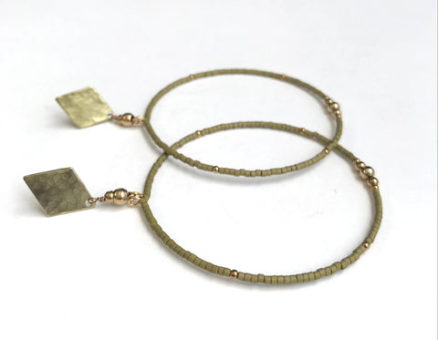 Medium size mini seed hoop earrings in Golden Olive