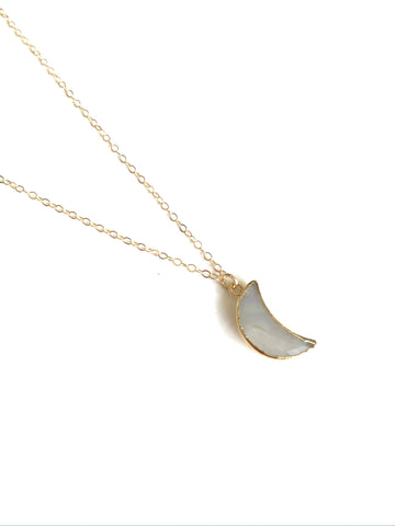 Moonstone crescent moon necklace