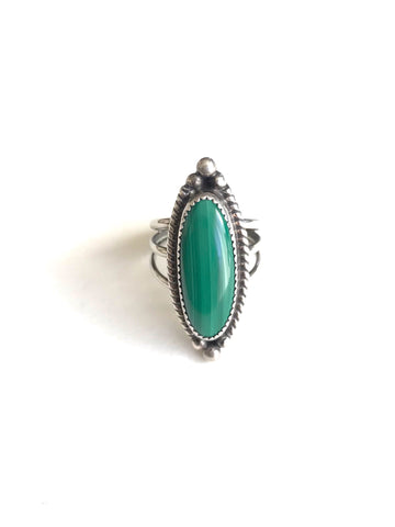 Malachite Bead Ring, size 5 1/2