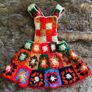 Children's vintage crocheted flower overall dress