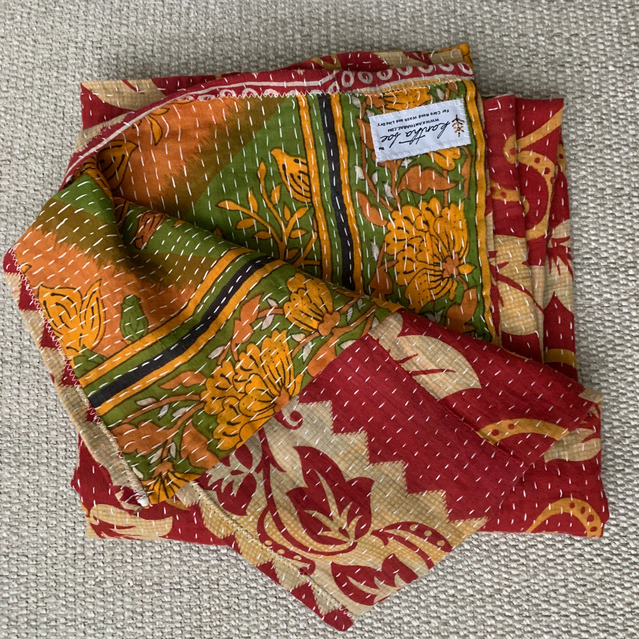 Red leaf swirl and olive floral Swaddle Blanket Kantha Bae
