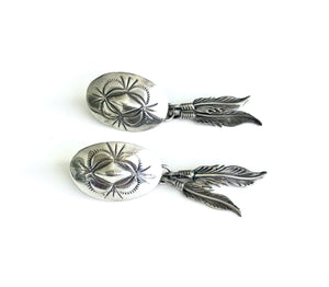 Sterling Silver Concho Feather Earrings