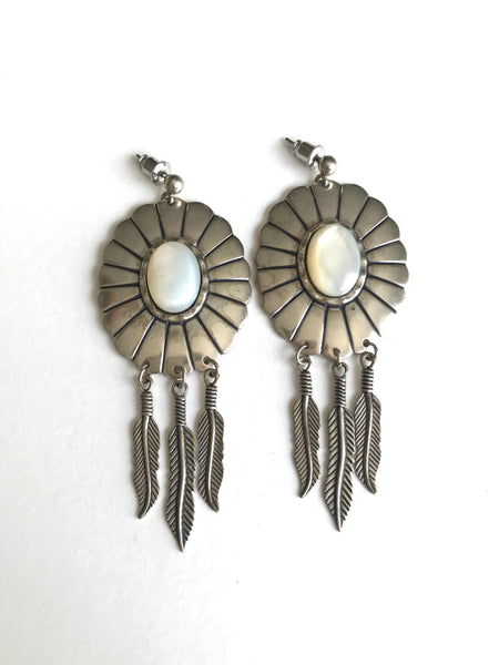 Mother of Pearl Concho Earrings