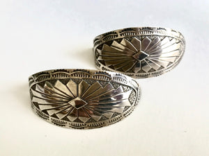 Large Curved Concho Earrings