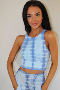 Blue Sufi Stripe High Neck Chevron Crop Top