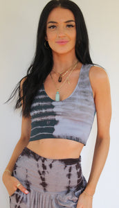 Greystone Tie Dye Plunge V-Neck Crop Top