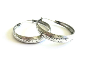 Etched Sterling Silver Hoop Earrings