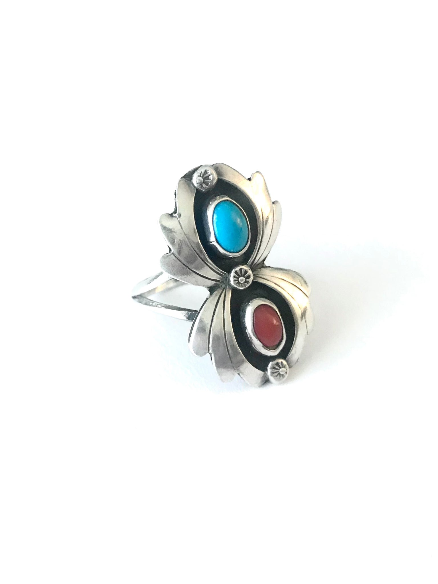 Turquoise and Coral ring, size 6 1/2