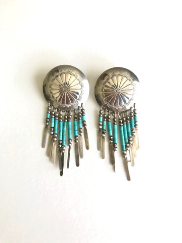 Turquoise Fringe Concho Earrings