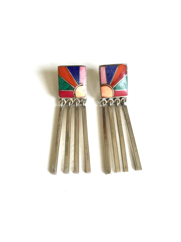 Gemstone Sun Inlay Fringe Earrings