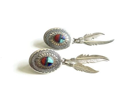 Gemstone Inlay Concho Feather Earrings
