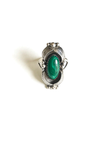 Malachite Shadowbox Leaf Ring